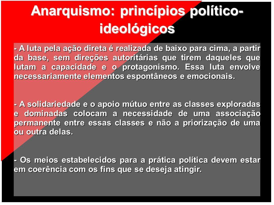 Anarquismo: princípios político- ideológicos - A luta pela ação direta é realizada de baixo para cima, a partir da base, sem direções autoritárias que