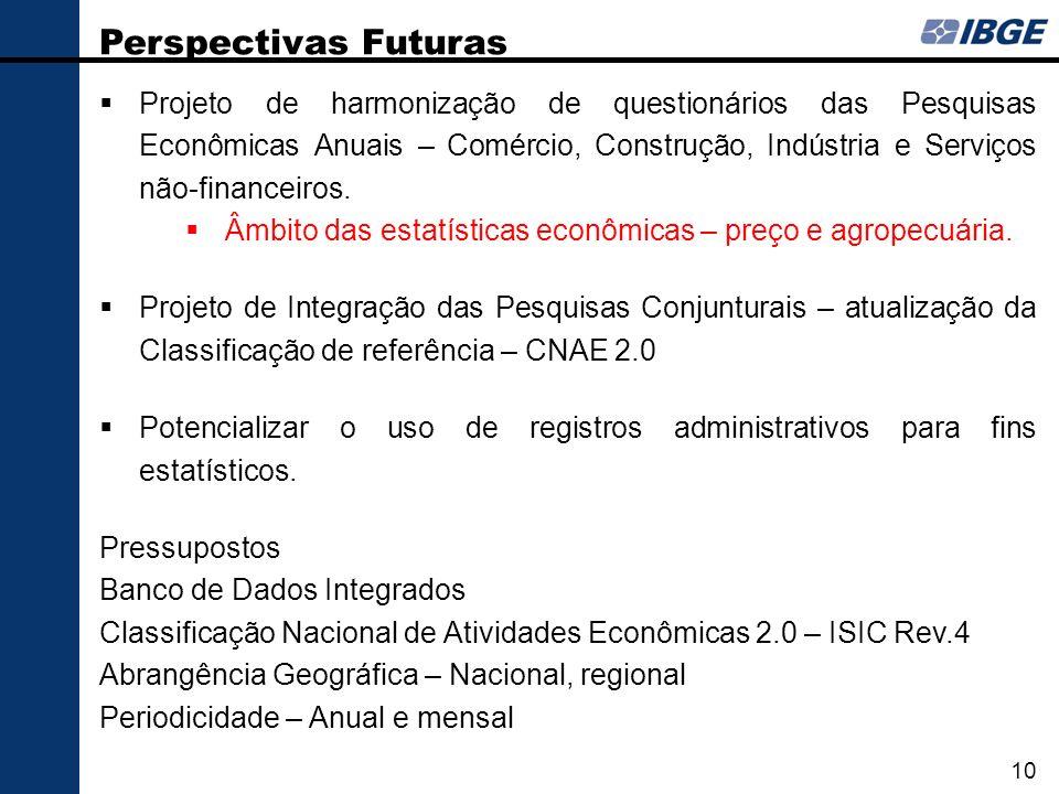 Projeto de harmonização de questionários das Pesquisas Econômicas Anuais – Comércio, Construção, Indústria e Serviços não-financeiros. Âmbito das esta