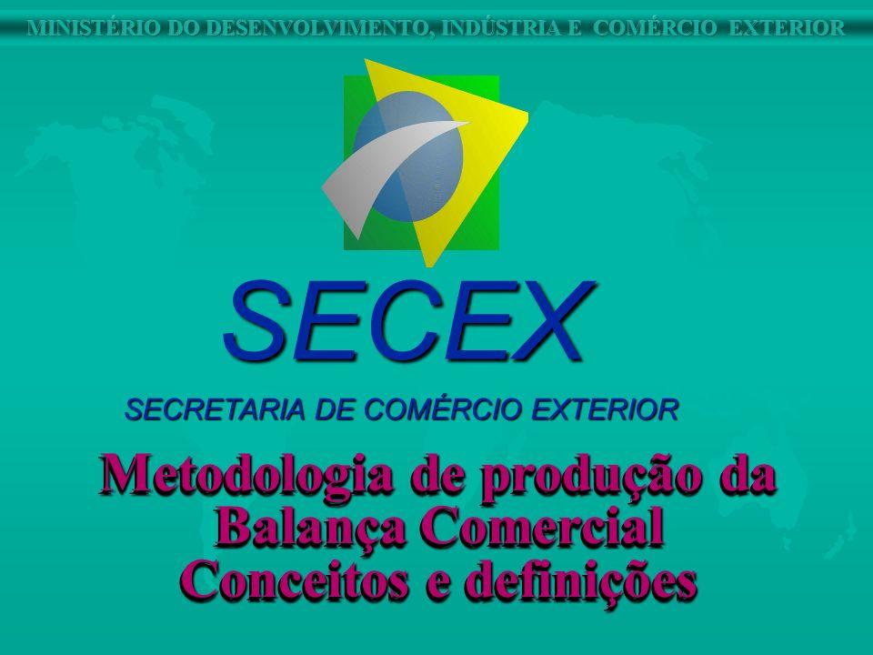 Metodologia de produção da Balança Comercial Conceitos e definições Metodologia de produção da Balança Comercial Conceitos e definições SECEX SECRETAR