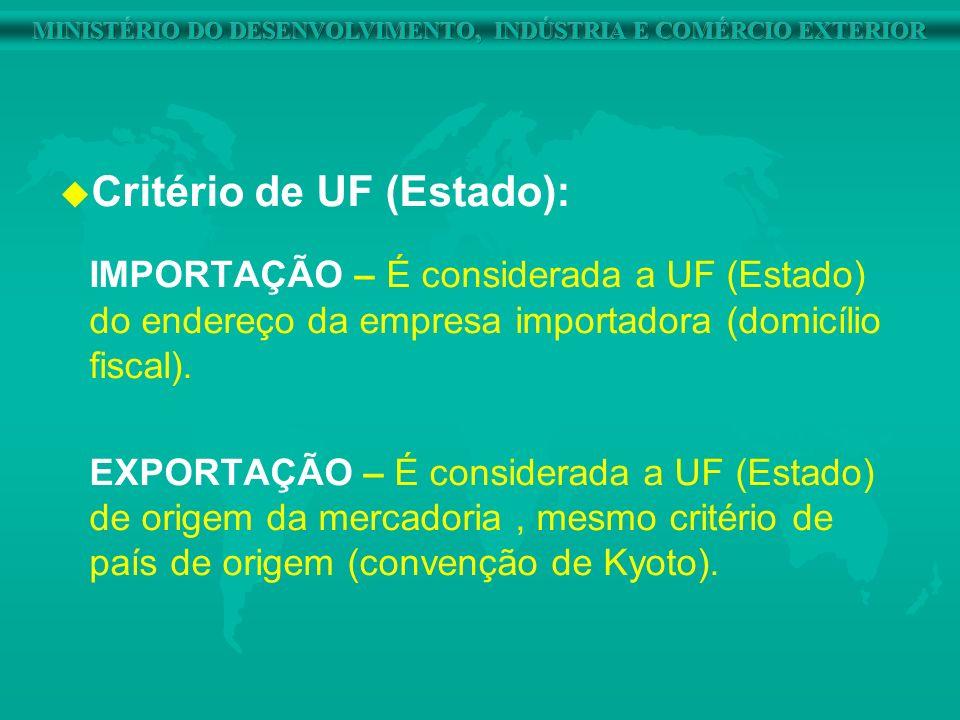 u u Critério de UF (Estado): IMPORTAÇÃO – É considerada a UF (Estado) do endereço da empresa importadora (domicílio fiscal). EXPORTAÇÃO – É considerad