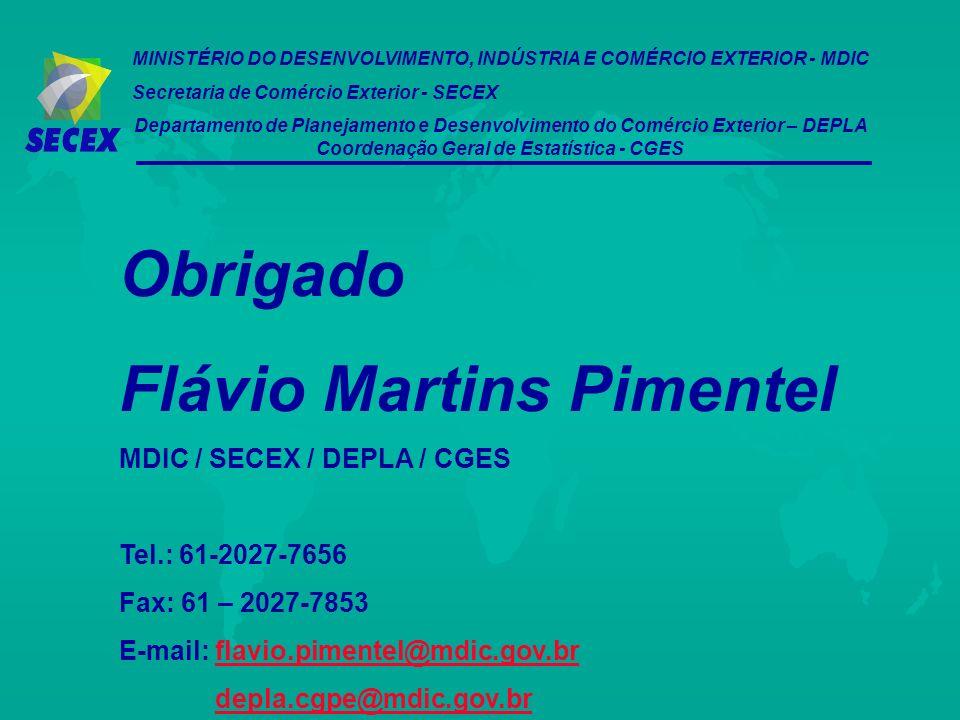 MINISTÉRIO DO DESENVOLVIMENTO, INDÚSTRIA E COMÉRCIO EXTERIOR - MDIC Secretaria de Comércio Exterior - SECEX Departamento de Planejamento e Desenvolvim