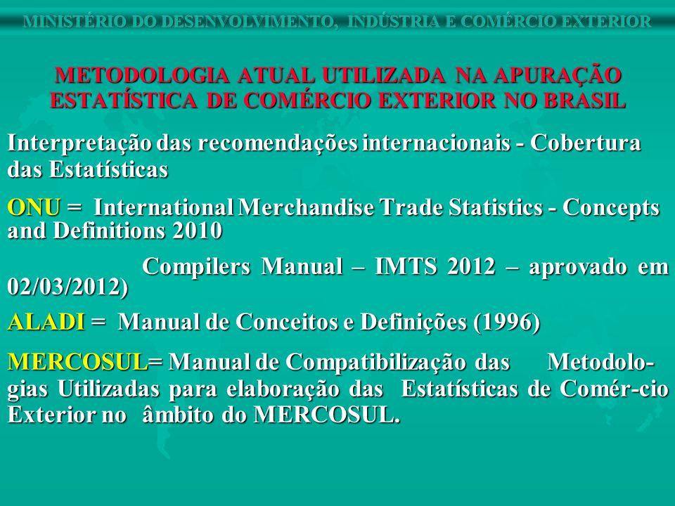 METODOLOGIA ATUAL UTILIZADA NA APURAÇÃO ESTATÍSTICA DE COMÉRCIO EXTERIOR NO BRASIL Interpretação das recomendações internacionais - Cobertura das Esta