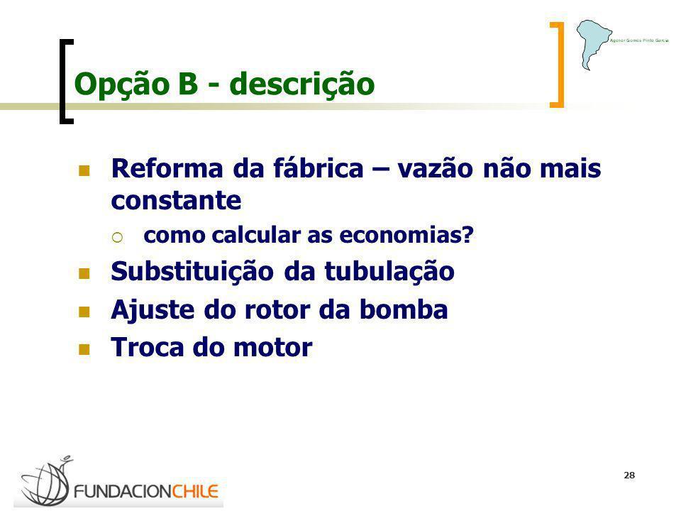 28 Opção B - descrição Reforma da fábrica – vazão não mais constante como calcular as economias? Substituição da tubulação Ajuste do rotor da bomba Tr
