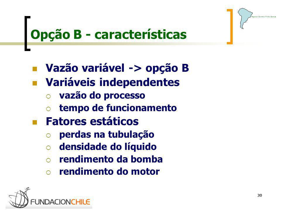 30 Opção B - características Vazão variável -> opção B Variáveis independentes vazão do processo tempo de funcionamento Fatores estáticos perdas na tu