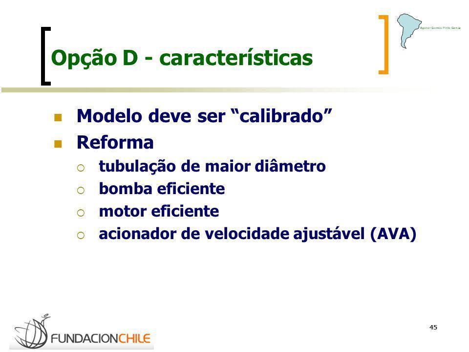 45 Opção D - características Modelo deve ser calibrado Reforma tubulação de maior diâmetro bomba eficiente motor eficiente acionador de velocidade aju