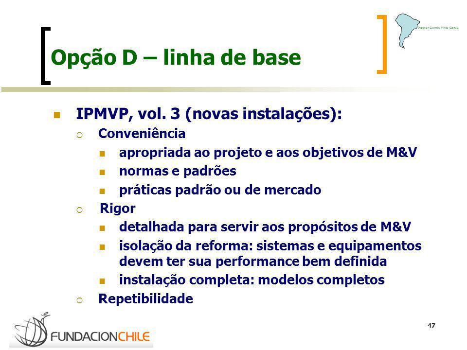 47 Opção D – linha de base IPMVP, vol. 3 (novas instalações): Conveniência apropriada ao projeto e aos objetivos de M&V normas e padrões práticas padr