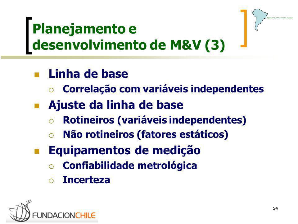 54 Planejamento e desenvolvimento de M&V (3) Linha de base Correlação com variáveis independentes Ajuste da linha de base Rotineiros (variáveis indepe