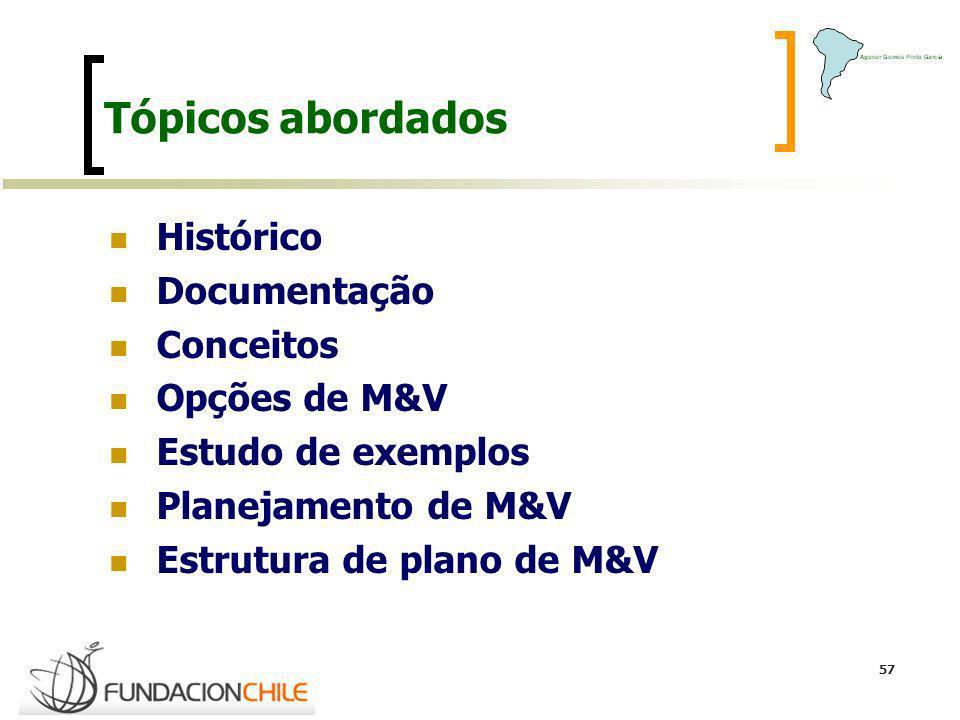 57 Tópicos abordados Histórico Documentação Conceitos Opções de M&V Estudo de exemplos Planejamento de M&V Estrutura de plano de M&V
