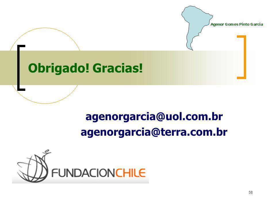 agenorgarcia@uol.com.br agenorgarcia@terra.com.br 58 Obrigado! Gracias!