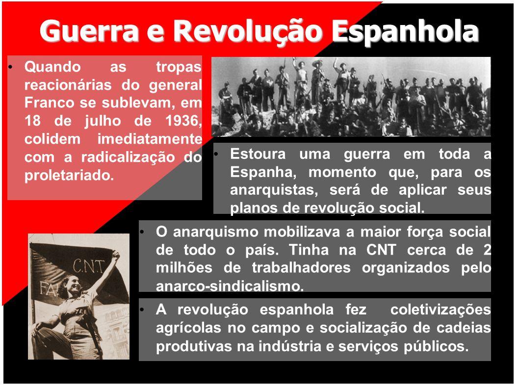 Guerra e Revolução Espanhola Quando as tropas reacionárias do general Franco se sublevam, em 18 de julho de 1936, colidem imediatamente com a radicali