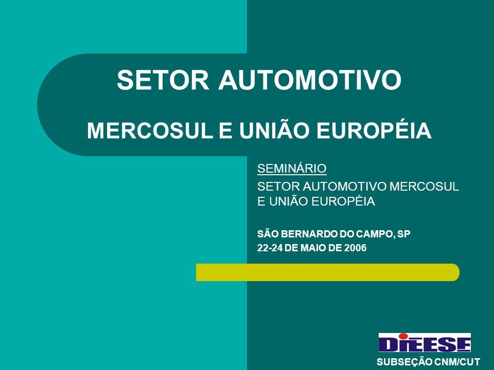 SETOR AUTOMOTIVO MERCOSUL E UNIÃO EUROPÉIA SEMINÁRIO SETOR AUTOMOTIVO MERCOSUL E UNIÃO EUROPÉIA SÃO BERNARDO DO CAMPO, SP 22-24 DE MAIO DE 2006 SUBSEÇ