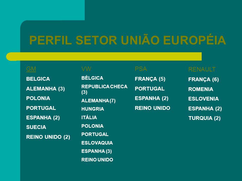 PERFIL SETOR UNIÃO EUROPÉIA GM BELGICA ALEMANHA (3) POLONIA PORTUGAL ESPANHA (2) SUECIA REINO UNIDO (2) VW BÉLGICA REPUBLICA CHECA (3) ALEMANHA (7) HU