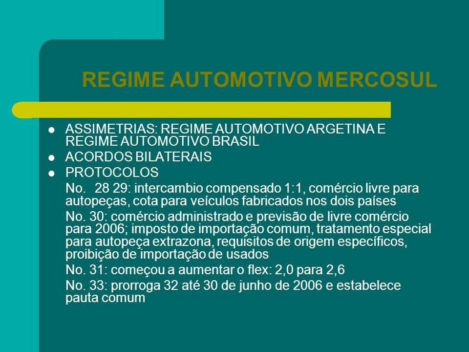 REGIME AUTOMOTIVO MERCOSUL ASSIMETRIAS: REGIME AUTOMOTIVO ARGETINA E REGIME AUTOMOTIVO BRASIL ACORDOS BILATERAIS PROTOCOLOS No.28 29: intercambio comp