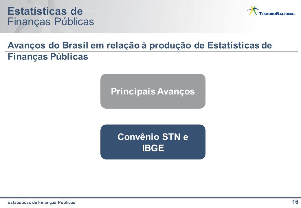 Estatísticas de Finanças Públicas Estatísticas de Finanças Públicas Avanços do Brasil em relação à produção de Estatísticas de Finanças Públicas 16 Principais Avanços Convênio STN e IBGE