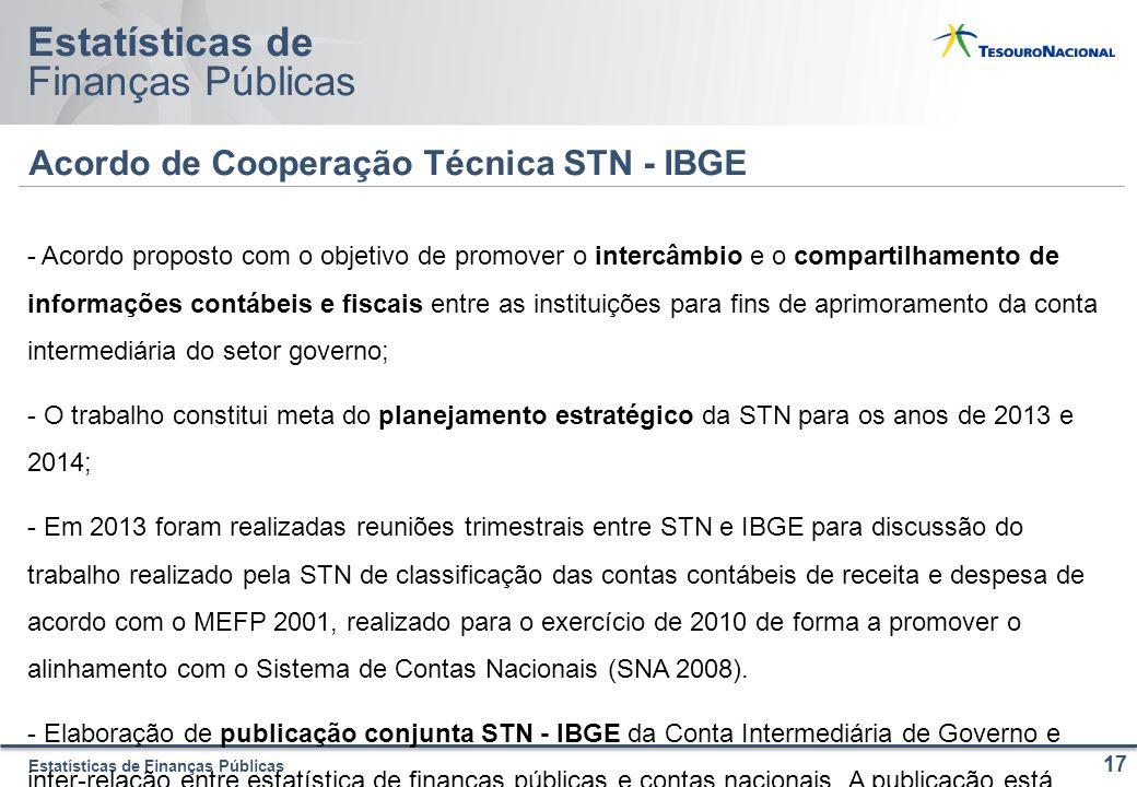 Estatísticas de Finanças Públicas Estatísticas de Finanças Públicas Acordo de Cooperação Técnica STN - IBGE 17 - Acordo proposto com o objetivo de pro
