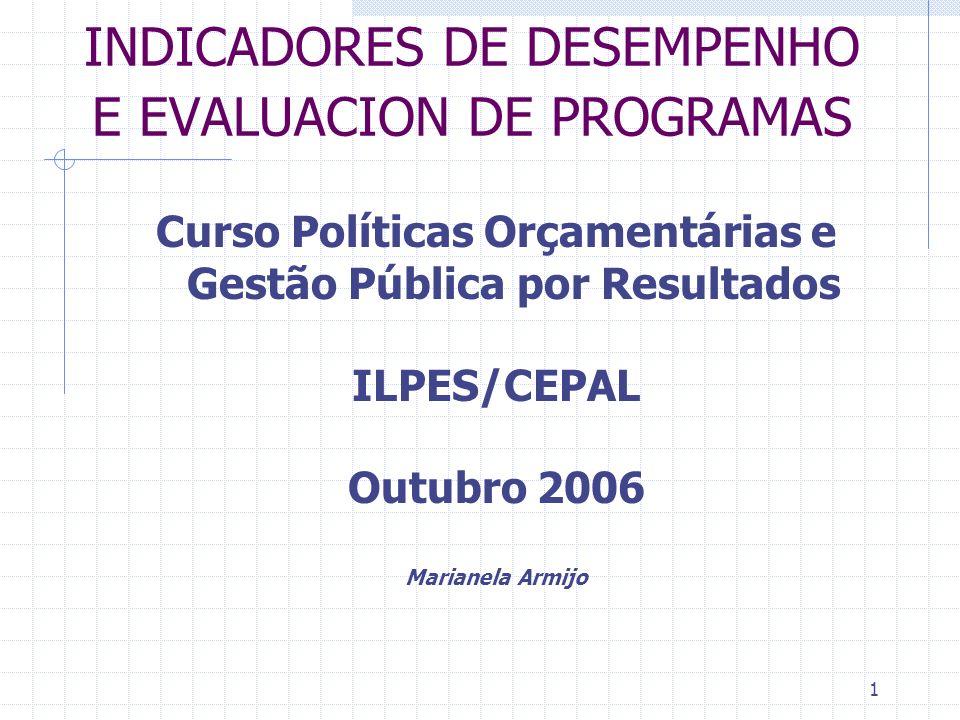 1 INDICADORES DE DESEMPENHO E EVALUACION DE PROGRAMAS Curso Políticas Orçamentárias e Gestão Pública por Resultados ILPES/CEPAL Outubro 2006 Marianela