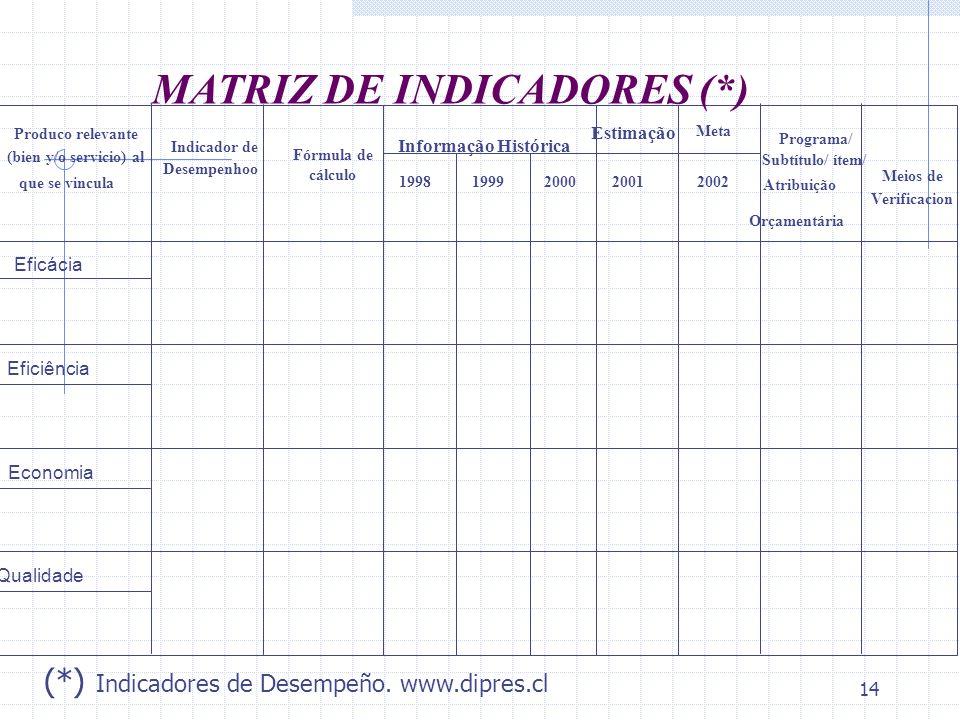 14 Qualidade Eficácia Eficiência Economia Estimação Meta 1998199920002001 2002 Produco relevante (bien y/o servicio) al que se vincula Indicador de De