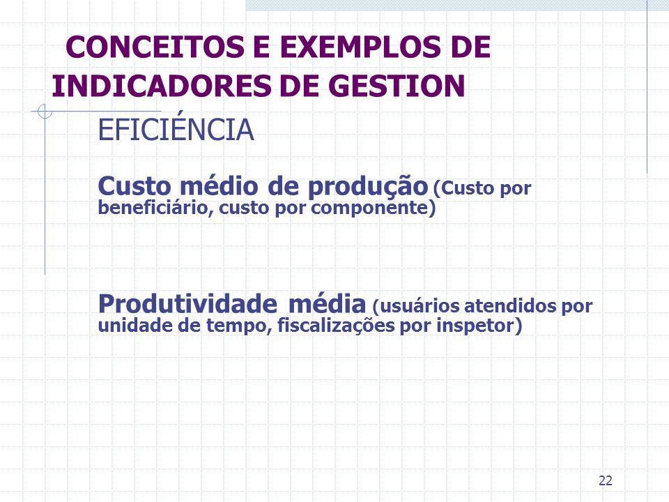 22 CONCEITOS E EXEMPLOS DE INDICADORES DE GESTION Custo médio de produção (Custo por beneficiário, custo por componente) Produtividade média ( usuário