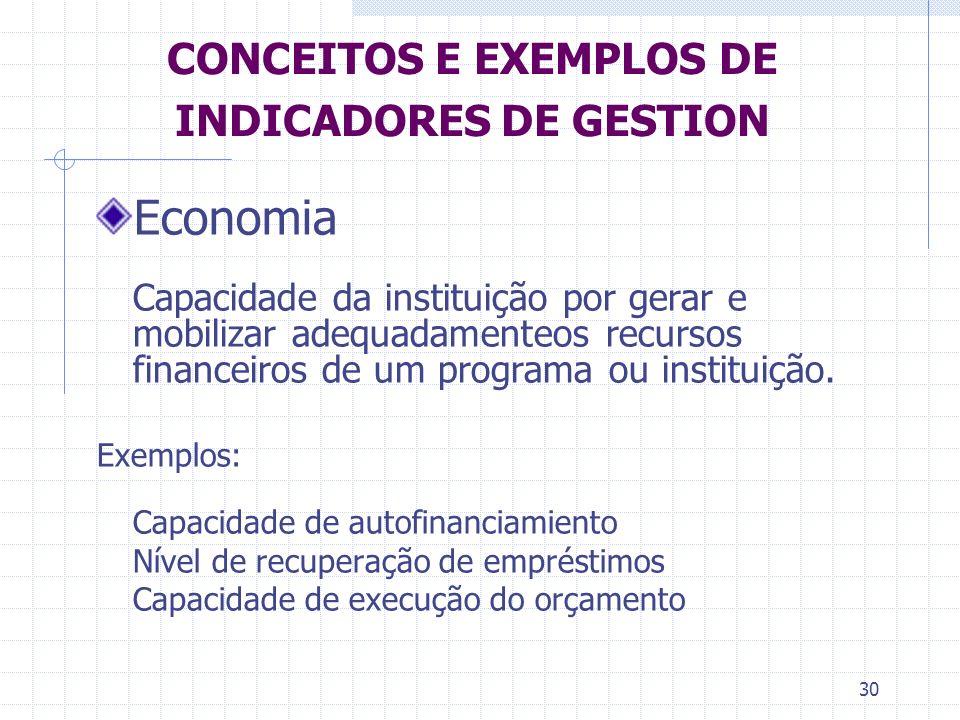 30 CONCEITOS E EXEMPLOS DE INDICADORES DE GESTION Economia Capacidade da instituição por gerar e mobilizar adequadamenteos recursos financeiros de um