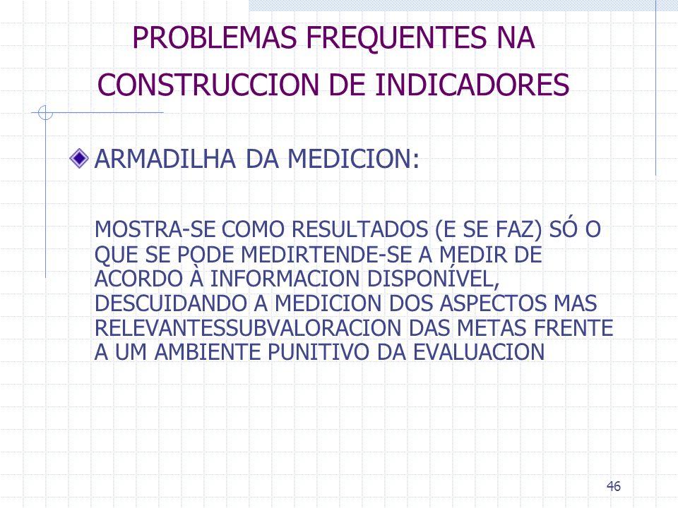 46 PROBLEMAS FREQUENTES NA CONSTRUCCION DE INDICADORES ARMADILHA DA MEDICION: MOSTRA-SE COMO RESULTADOS (E SE FAZ) SÓ O QUE SE PODE MEDIRTENDE-SE A ME
