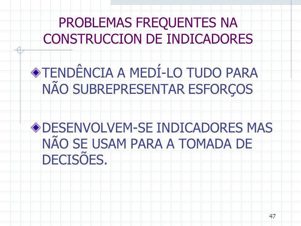 47 PROBLEMAS FREQUENTES NA CONSTRUCCION DE INDICADORES TENDÊNCIA A MEDÍ-LO TUDO PARA NÃO SUBREPRESENTAR ESFORÇOS DESENVOLVEM-SE INDICADORES MAS NÃO SE