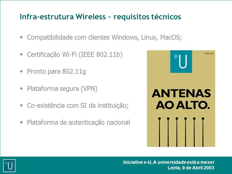 Iniciativa e-U, A universidade está a mexer Leiria, 9 de Abril 2003 Infra-estrutura Wireless – requisitos técnicos Compatibilidade com clientes Windows, Linux, MacOS; Certificação Wi-Fi (IEEE 802.11b) Pronto para 802.11g Plataforma segura (VPN) Co-existência com SI da instituição; Plataforma de autenticação nacional