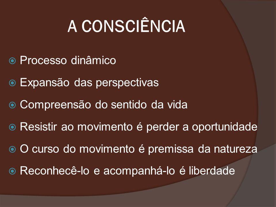 A CONSCIÊNCIA Processo dinâmico Expansão das perspectivas Compreensão do sentido da vida Resistir ao movimento é perder a oportunidade O curso do movi