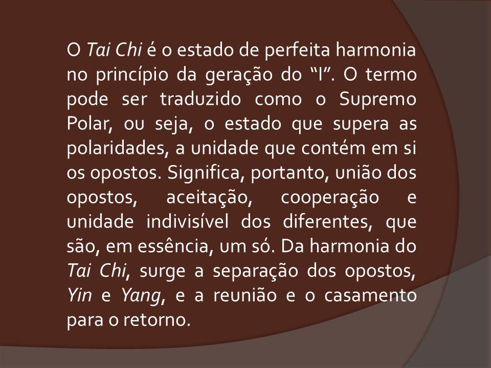O Tai Chi é o estado de perfeita harmonia no princípio da geração do I. O termo pode ser traduzido como o Supremo Polar, ou seja, o estado que supera
