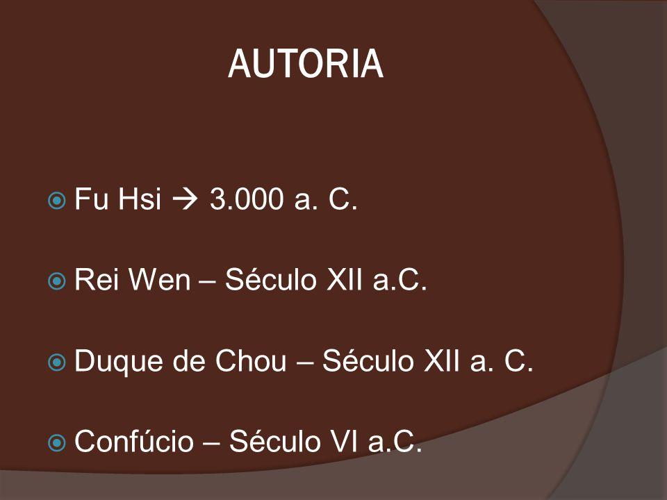 AUTORIA Fu Hsi 3.000 a. C. Rei Wen – Século XII a.C. Duque de Chou – Século XII a. C. Confúcio – Século VI a.C.