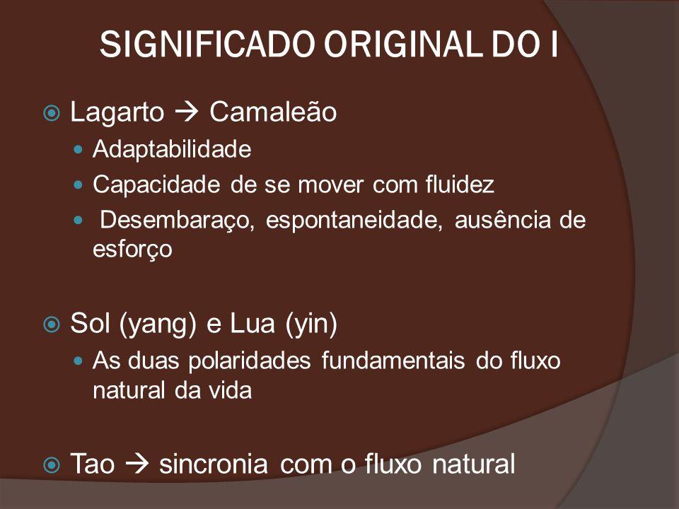 SIGNIFICADO ORIGINAL DO I Lagarto Camaleão Adaptabilidade Capacidade de se mover com fluidez Desembaraço, espontaneidade, ausência de esforço Sol (yan