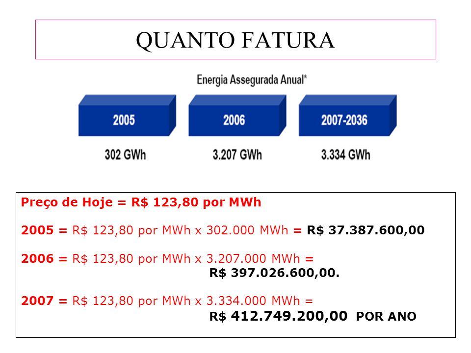 QUANTO FATURA Preço de Hoje = R$ 123,80 por MWh 2005 = R$ 123,80 por MWh x 302.000 MWh = R$ 37.387.600,00 2006 = R$ 123,80 por MWh x 3.207.000 MWh = R