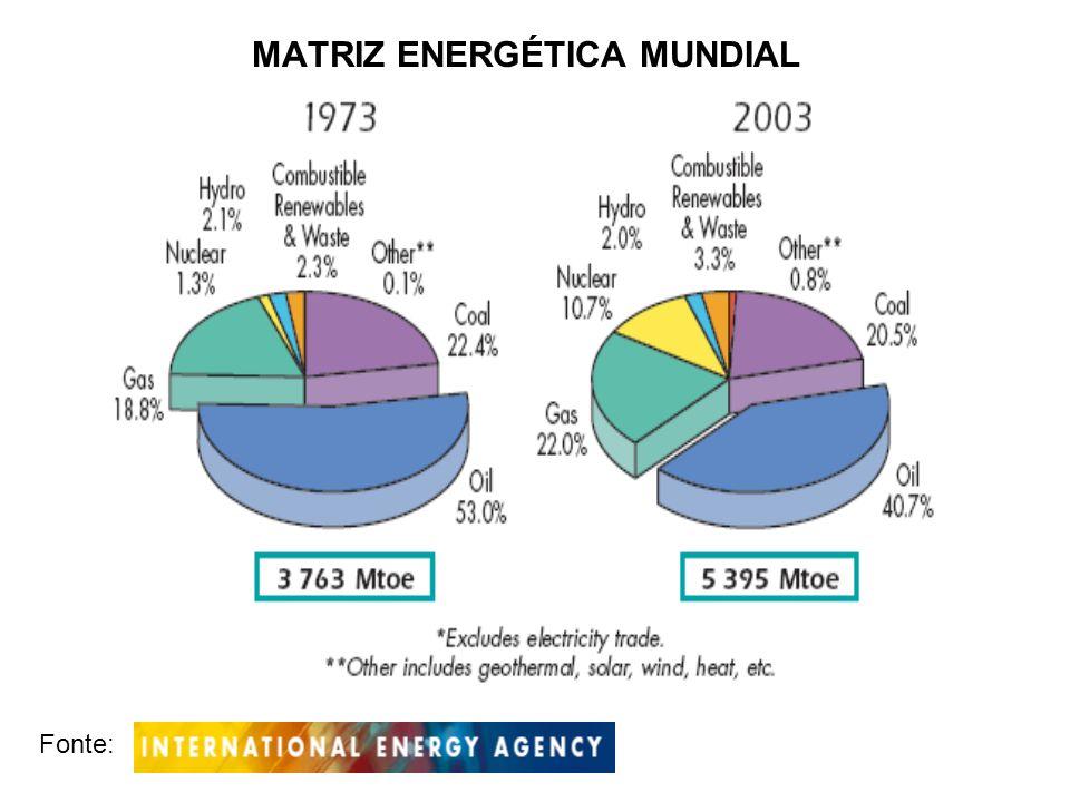 MATRIZ ENERGÉTICA MUNDIAL Fonte: