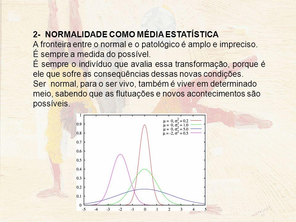 NORMALIDADE COMO SAÚDE : Ser sadio e ser normal não são também fatos equivalentes, já que o patológico é uma variação da norma, um desvio do espectro normal.