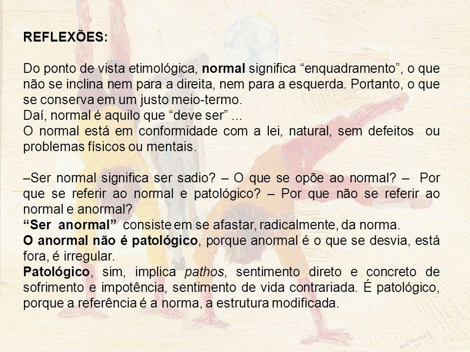 REFLEXÕES: Do ponto de vista etimológica, normal significa enquadramento, o que não se inclina nem para a direita, nem para a esquerda. Portanto, o qu