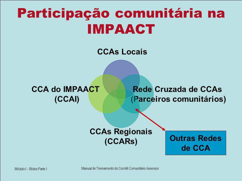 Módulo I - Slides Parte I Manual de Treinamento do Comitê Comunitário Assessor Participação comunitária na IMPAACT CCAs Locais Rede Cruzada de CCAs (P