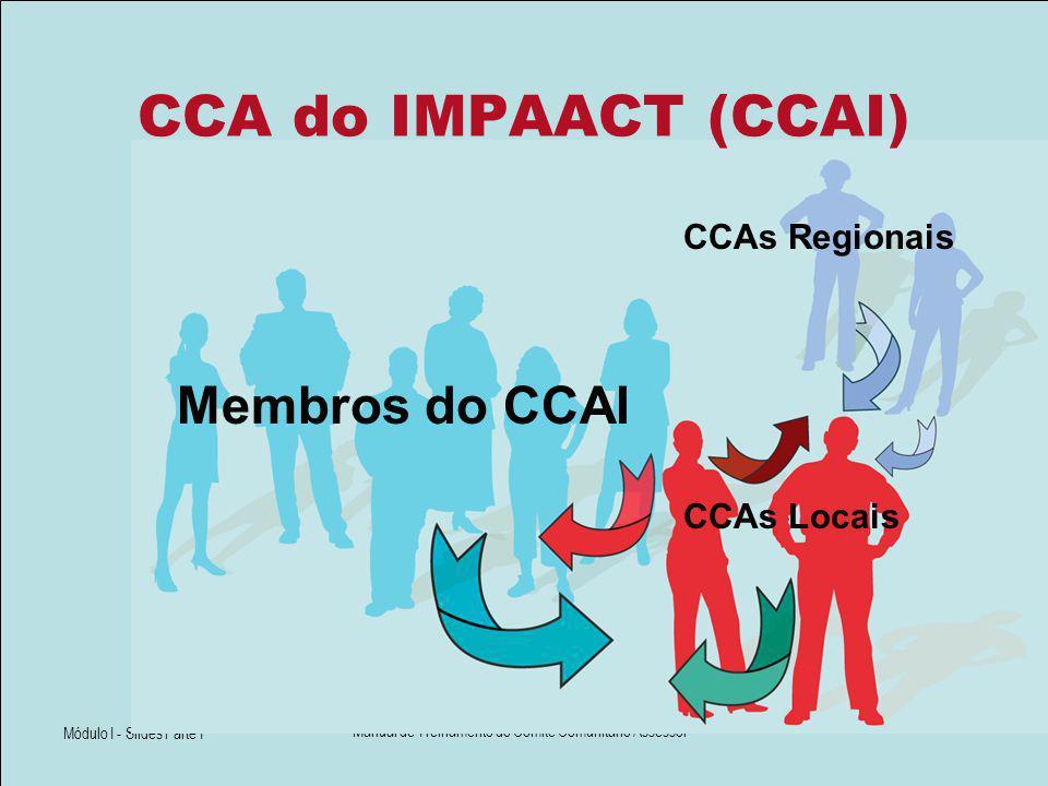 Módulo I - Slides Parte I Manual de Treinamento do Comitê Comunitário Assessor CCA do IMPAACT (CCAI) Membros do CCAI CCAs Regionais CCAs Locais