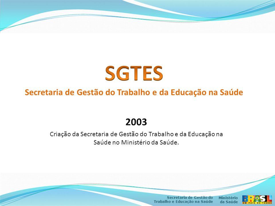 Ministério da Saúde Secretaria de Gestão do Trabalho e Educação na Saúde 2003 Criação da Secretaria de Gestão do Trabalho e da Educação na Saúde no Mi