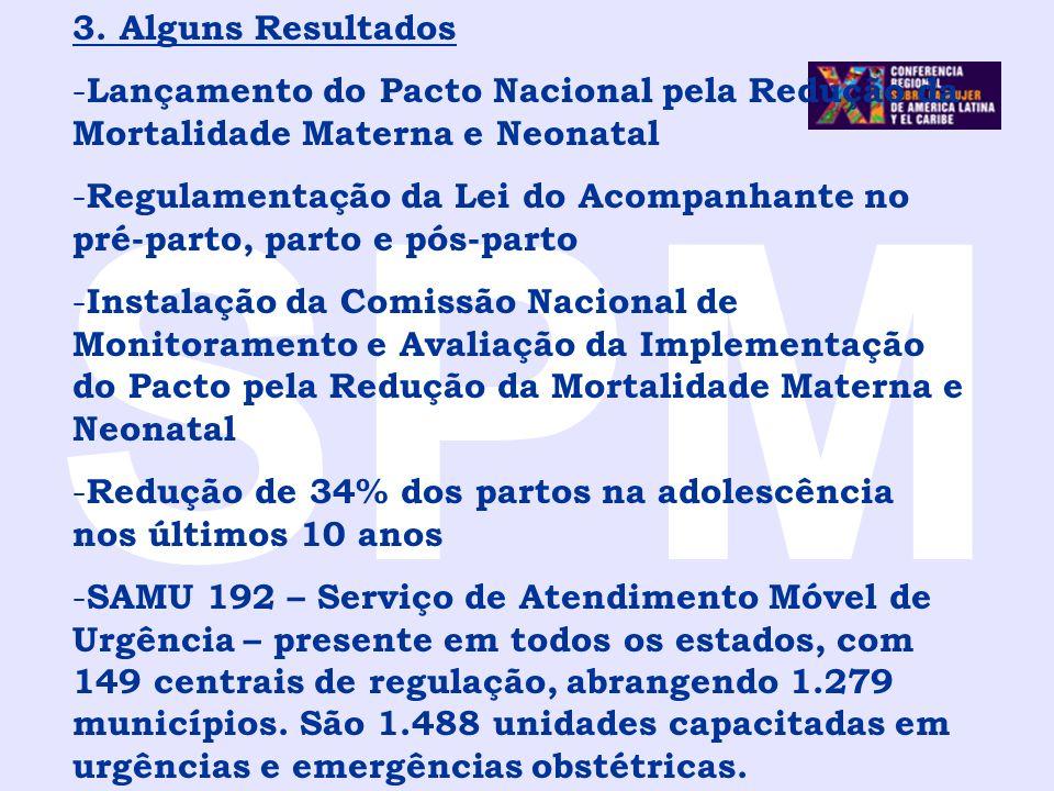 SPM 3. Alguns Resultados - Lançamento do Pacto Nacional pela Redução da Mortalidade Materna e Neonatal - Regulamentação da Lei do Acompanhante no pré-