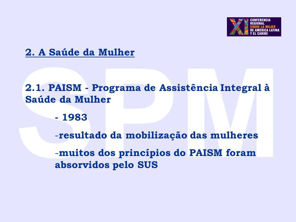 SPM 2. A Saúde da Mulher 2.1. PAISM - Programa de Assistência Integral à Saúde da Mulher - 1983 - resultado da mobilização das mulheres - muitos dos p