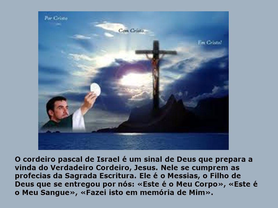 O cordeiro pascal de Israel é um sinal de Deus que prepara a vinda do Verdadeiro Cordeiro, Jesus. Nele se cumprem as profecias da Sagrada Escritura. E
