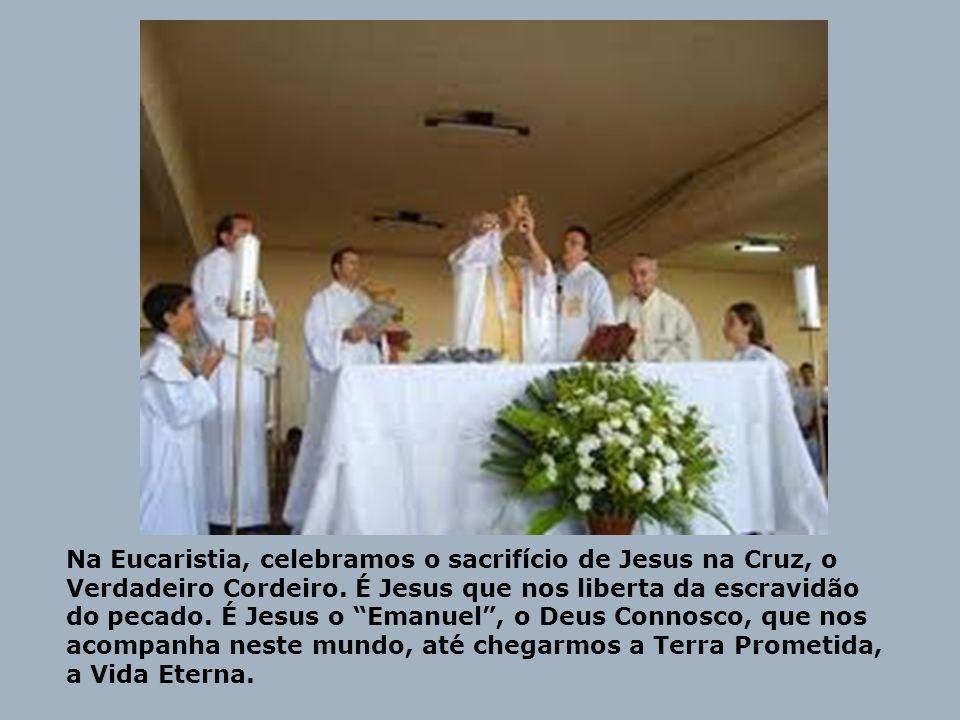 Na Eucaristia, celebramos o sacrifício de Jesus na Cruz, o Verdadeiro Cordeiro. É Jesus que nos liberta da escravidão do pecado. É Jesus o Emanuel, o
