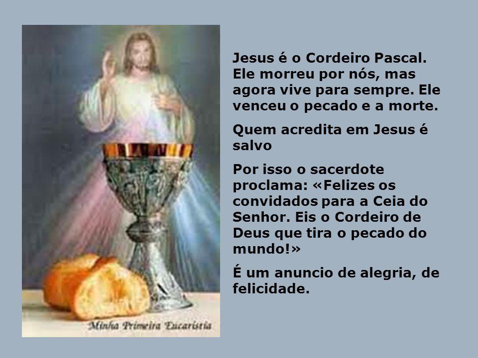 Jesus é o Cordeiro Pascal. Ele morreu por nós, mas agora vive para sempre. Ele venceu o pecado e a morte. Quem acredita em Jesus é salvo Por isso o sa