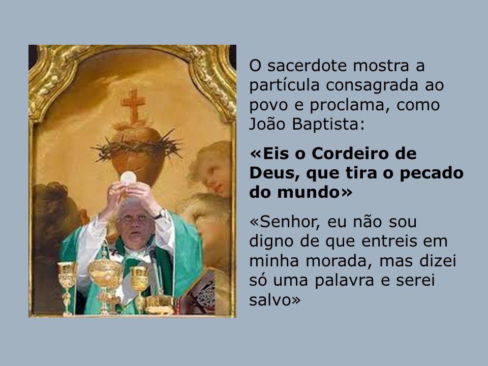 O sacerdote mostra a partícula consagrada ao povo e proclama, como João Baptista: «Eis o Cordeiro de Deus, que tira o pecado do mundo» «Senhor, eu não
