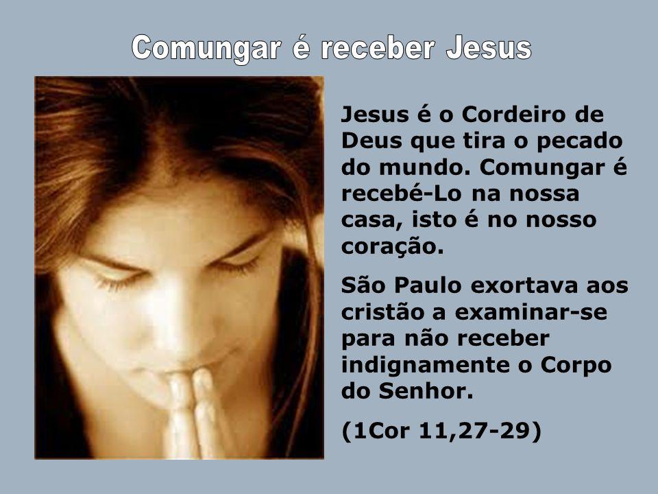 Jesus é o Cordeiro de Deus que tira o pecado do mundo. Comungar é recebé-Lo na nossa casa, isto é no nosso coração. São Paulo exortava aos cristão a e