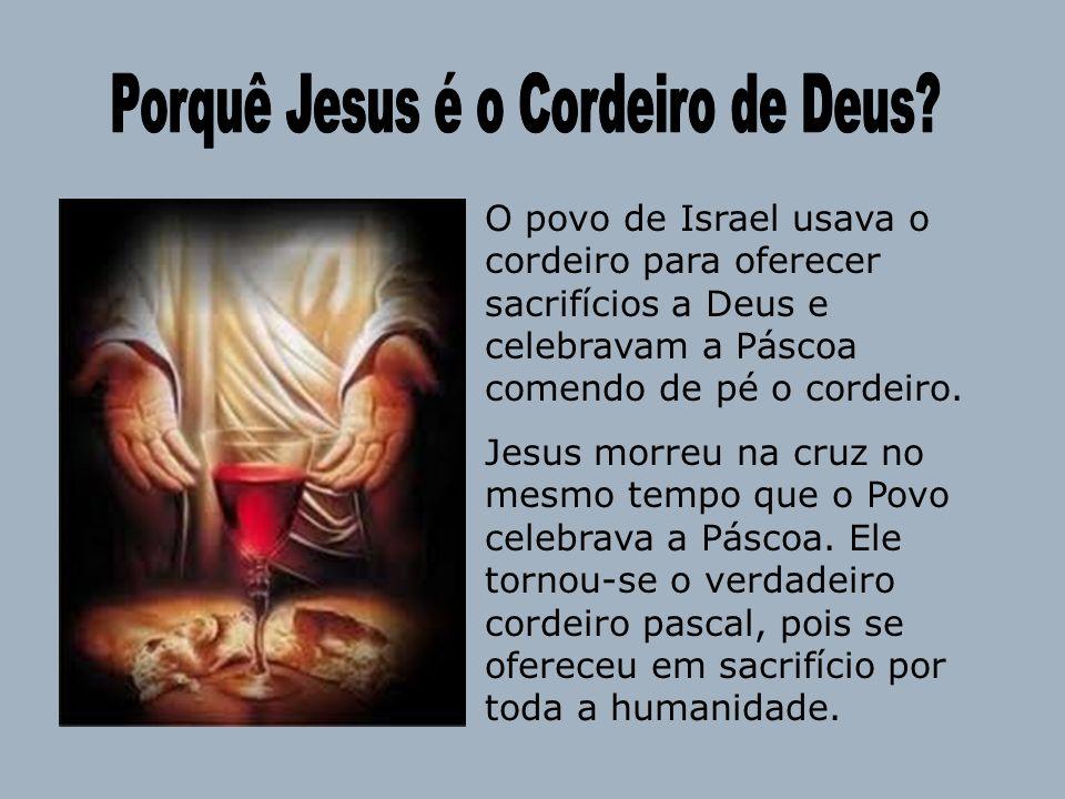O povo de Israel usava o cordeiro para oferecer sacrifícios a Deus e celebravam a Páscoa comendo de pé o cordeiro. Jesus morreu na cruz no mesmo tempo