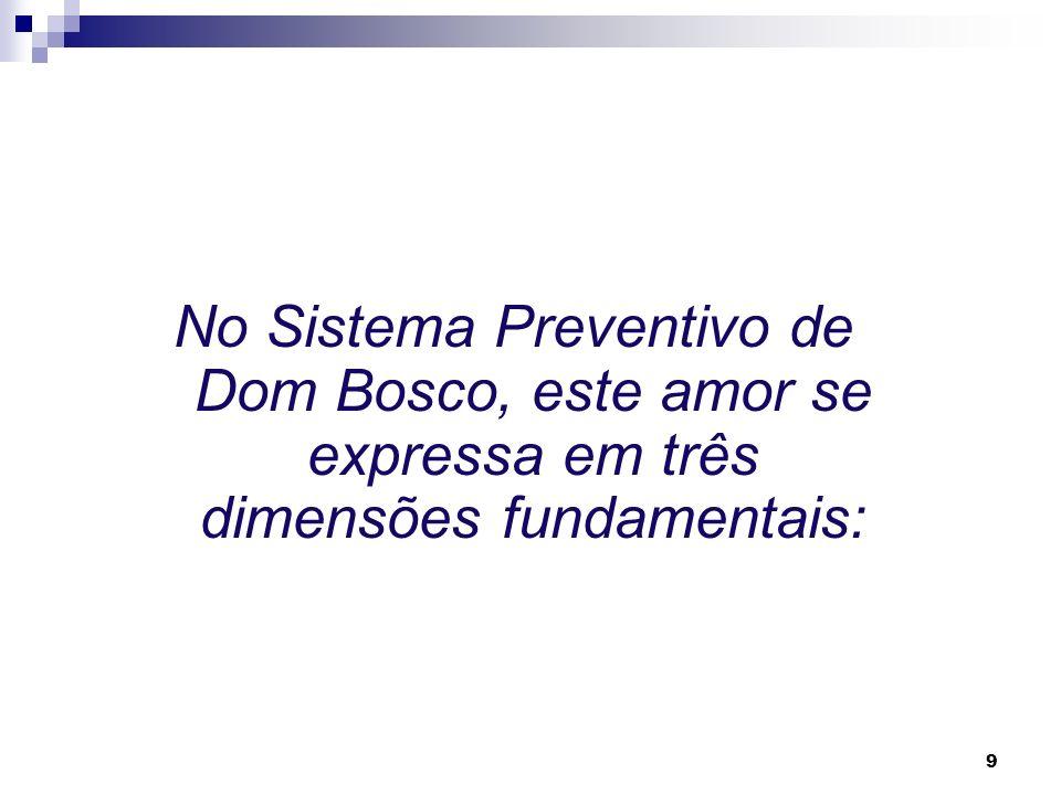 9 No Sistema Preventivo de Dom Bosco, este amor se expressa em três dimensões fundamentais: