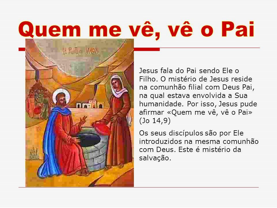 Jesus fala do Pai sendo Ele o Filho. O mistério de Jesus reside na comunhão filial com Deus Pai, na qual estava envolvida a Sua humanidade. Por isso,