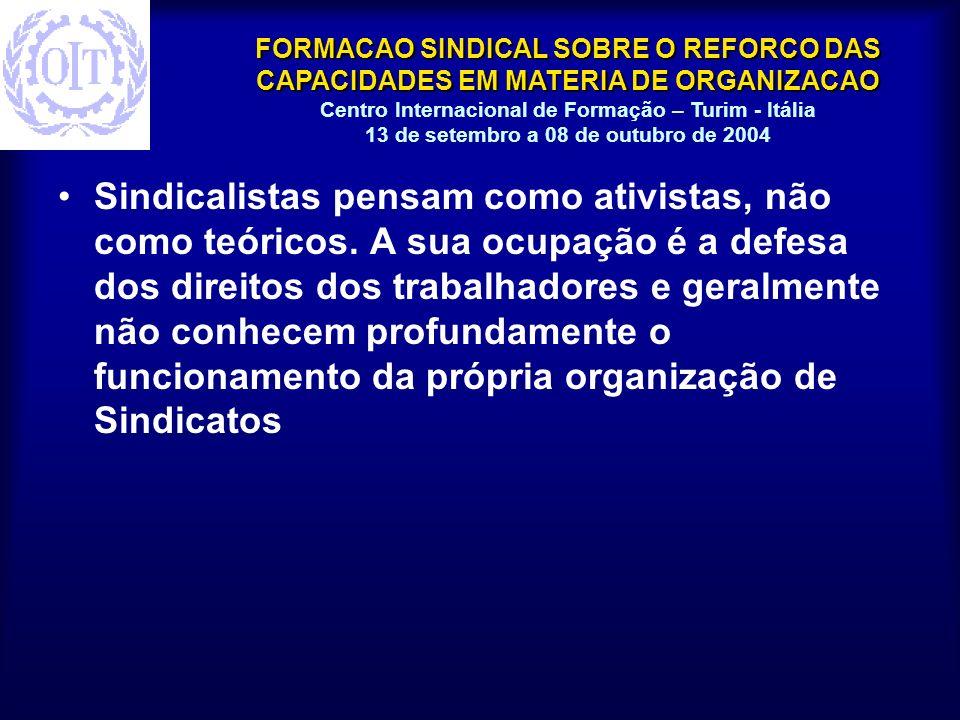 FORMACAO SINDICAL SOBRE O REFORCO DAS CAPACIDADES EM MATERIA DE ORGANIZACAO Centro Internacional de Formação – Turim - Itália 13 de setembro a 08 de outubro de 2004 Todas as organizações requerem funções administrativas.