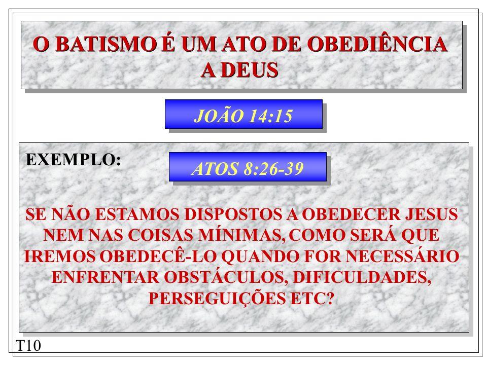 JOÃO 14:15 O BATISMO É UM ATO DE OBEDIÊNCIA A DEUS O BATISMO É UM ATO DE OBEDIÊNCIA A DEUS ATOS 8:26-39 EXEMPLO: SE NÃO ESTAMOS DISPOSTOS A OBEDECER J