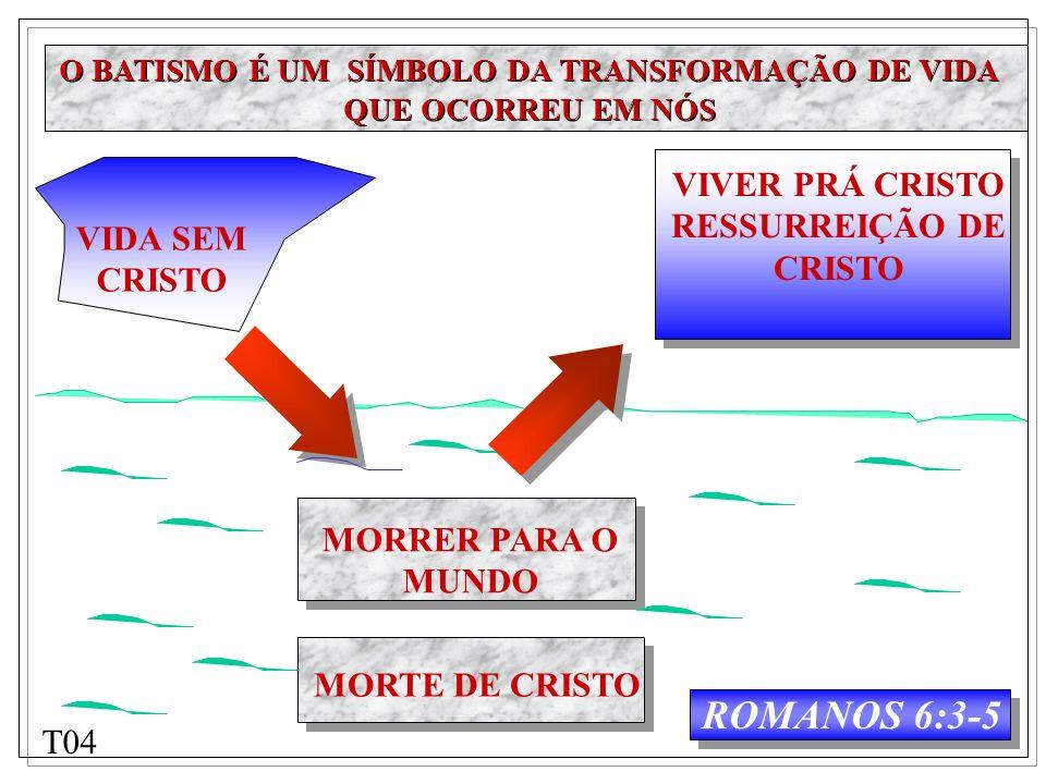 VIDA SEM CRISTO MORRER PARA O MUNDO MORTE DE CRISTO ROMANOS 6:3-5 VIVER PRÁ CRISTO RESSURREIÇÃO DE CRISTO O BATISMO É UM SÍMBOLO DA TRANSFORMAÇÃO DE V